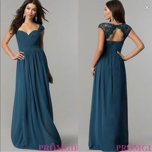PromGirl Teal Long Evening Gown Size 10